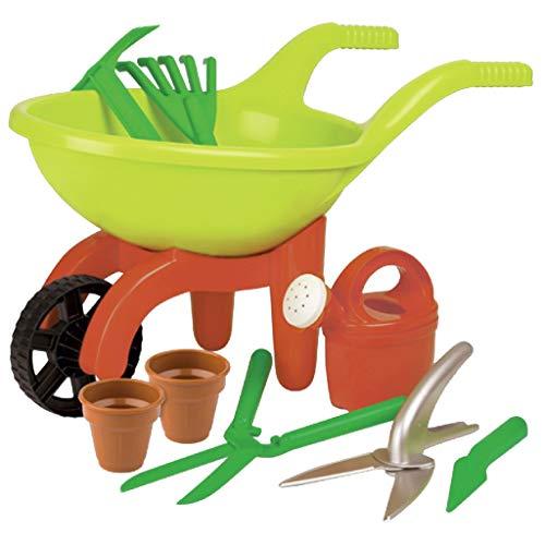 Simba 107137758 - Schubkarre mit Gartenwerkzeug, 9 Teile, Länge 49cm, Sandkasten, Sandspielzeug*