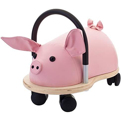 Wheely Bug 51110S Ferkel groß, großes Holzschwein auf Rollen mit Griff, ultimatives cooles Rutschauto, Spaß Car - Auto für jedes Kind