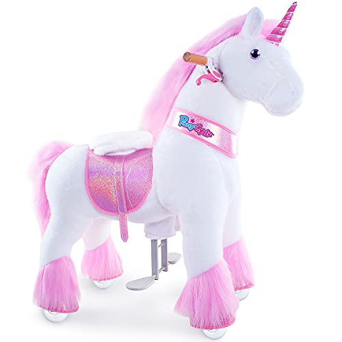 PonyCycle Offizielle Klassisch Modell U 2021 Reiten auf Einhorn Spielzeug Plüsch Lauftier Rosa Einhorn (mit Bremse und Sound/ 97cm Höhe/ U4 für Alter 4-9) Ux402