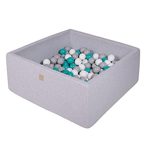 MEOWBABY Bällebad 90X90X40cm/200 Bälle ∅ 7Cm Baby Spielbad Mit Bällen Quadratisch Spielbälle Bällebad Spielzeug für Kinder Made In EU Hellgrau: Türkis/Grau/Weiß