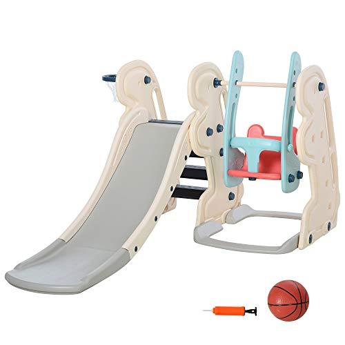 HOMCOM 3-in-1 Kinderrutsche Kinder Rutsche mit Basketballkorb, Schaukel, Leiter Spielzeug Slide Gartenrutsche Babyrutsch für 1-6 Jahre HDPE Weiß+Blau+Grau 220 x 160 x 120 cm
