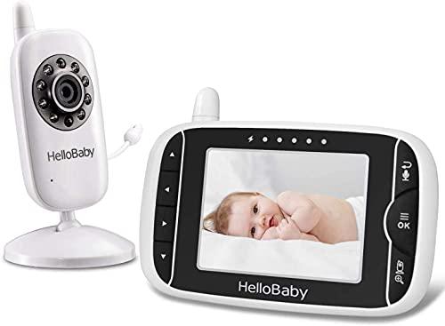 HelloBaby Video Babyphone mit Kamera und Audio   Schützen Sie Babys mit Nachtsicht, Rücksprache, Raumtemperatur, Schlafliedern, 960 Fuß Reichweite und Langer Akkulaufzeit