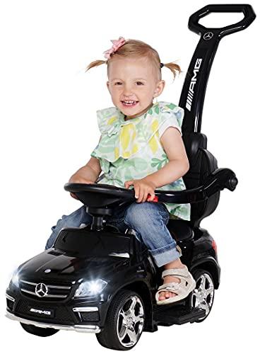 Actionbikes Motors Kinder Rutschauto Mercedes Amg GL 63 - Lizenziert - 4 in 1 - Schiebestange - Rutscher - Laufrad - Lauflernwagen - Lernspielzeug für Kinder ab 1 Jahr (Schwarz)