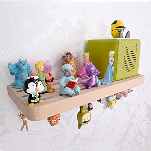 Natürliche Lebensfreude - Kinder Regal aus Buche Massivholz für Toniebox und 60 Tonies - 100% Made in Germany - Schweberegal ohne sichtbare Halterung - Musikbox - Tonie Figuren