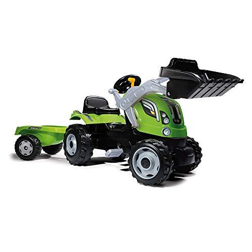 Smoby 7600710109 - Traktor Farmer XL-Loader - Trettraktor mit Anhänger, Trailer verfügt über Tragkraft von bis zu 25 kg, Schaufel bis zu 3 kg belastbar, Traktor für Kinder ab 3 Jahren, Grün