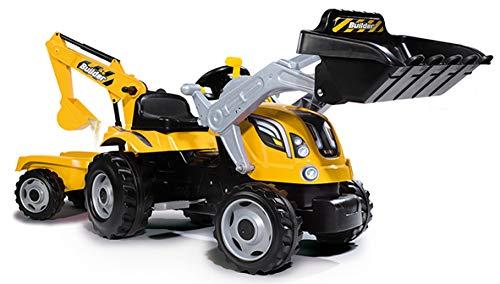 Smoby 7600710301 - Traktor Builder Max - Trettraktor mit Anhänger, Trailer verfügt über Tragkraft von bis zu 25 kg, Schaufel bis zu 3 kg belastbar, Traktor für Kinder ab 3 Jahren, Gelb*