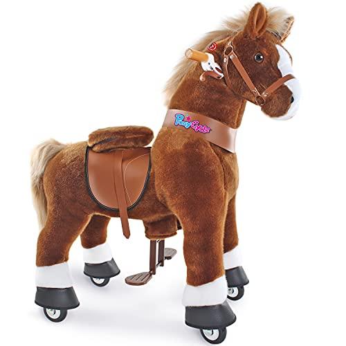 PonyCycle Offizielles mechanisches Pferdespielzeug Kinderfahrrad Kinderroller (mit Bremse und Sound/ 97 cm Höhe/ U4 für Alter 4-9) Pony-Fahrradfahrt auf braunem Pferd Plüschtier Modell Ux424