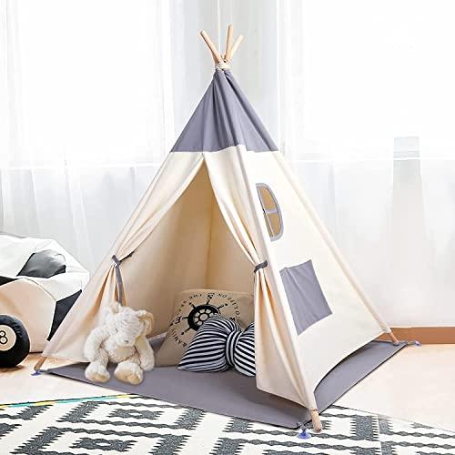 Kinderzelt Spielzelt Tipi Zelt Teepee für Kinder aus 100% Baumwolle + graue Matte+6 Meter Lichtkette