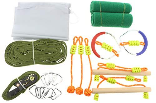 HOQ Hangelparcour Ninja Slackline Set mit 10 Meter Slackline, Hangelleitern, Seilgriffen, Hangelgriffen, Schäkel, Ratsche und Schutzmatten bis 180 kg