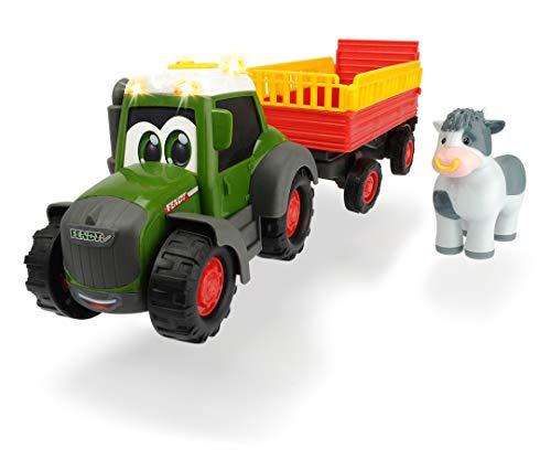 Dickie Toys ABC Fendt Animal Trailer, Traktor für Kinder ab 1 Jahr, Trecker mit Tieranhänger, Bauernhof Spielzeug, Licht & Sound, 30 cm