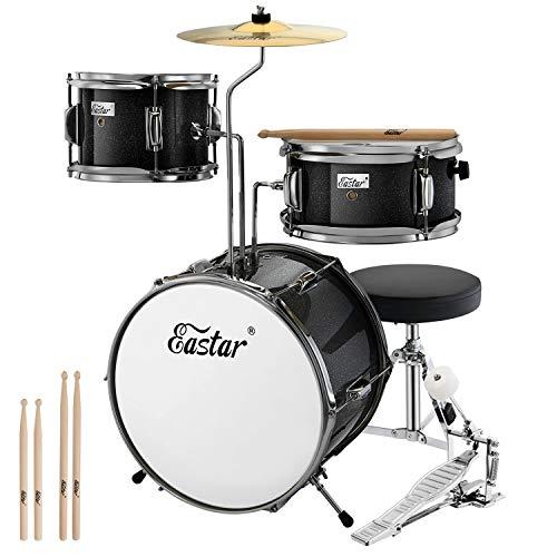 Eastar Schlagzeug 14' 3-teilig, Kinder für 3-10 Jahre, Schlagzeug Set mit Snare, Tom, Bass Drum, Bass Drum Pedal, Thron, Becken und Drumsticks