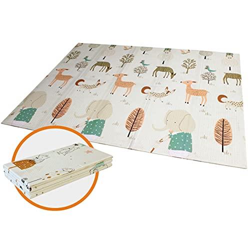 Spielmatte BabyTeppich Spielteppich Faltbarer Krabbelmatte Ungiftig XPE-Schaumboden Rutschfest Beidseitig Tragbar Wasserdicht für Innen- oder Außenbereich für Kleinkind Bunt (150 x 197 x 1 cm)