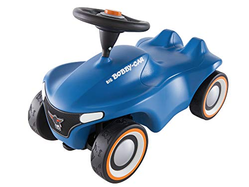 BIG-Bobby-Car Neo Blau - Rutschfahrzeug für drinnen und draußen, Kinderfahrzeug mit Flüsterreifen im modernen Design, für Kinder ab 1 Jahr