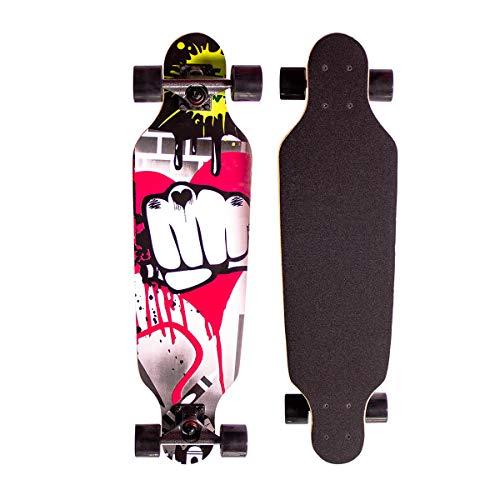 Sumeber Longboard Skateboard 31 Zoll for Anfänger Twin Tip Street Long Board Komplettes Drop-Through Freeride Skating Cruiser Boards mit Light Up Wheels für Jugendliche Erwachsene Kinder Als...