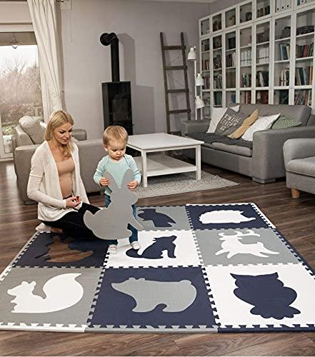 Hakuna Matte große Puzzlematte für Babys 1,8x1,8m – 9 XXL Platten 60 x 60cm mit Tieren – 20% dickere Spielmatte in Einer umweltfreundlichen Verpackung – schadstofffreie, geruchlose...