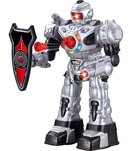 ThinkGizmos Großer Roboter ferngesteuert für Kinder - Hervorragendes Spielzeug Ro-boter - Fernbedienung Spielzeug schießt Raketen, Spaziergänge, Gespräche & Tänze (10 Funktionen) (Silber)