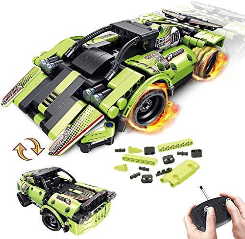 LUKAT STEM Ferngesteuertes Auto Bausteine Spielzeug für Kinder 2-in-1-Technik Ferngesteuert Auto,Fernbedienung Racer ,2,4 GHz RC Rennwagen-Bausteine ab 6 7 8 9 10 jährige Jungen und Mädchen