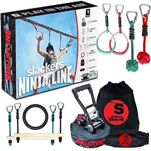 Slackers USA Ninja Line Starter Set 2021, 11 Meter Hangelparcour, tolles 11-teiliges Komplettset, auch als Slackline nutzbar, mit 7 Hindernissen, trainiere wie ein Ninja, 980024