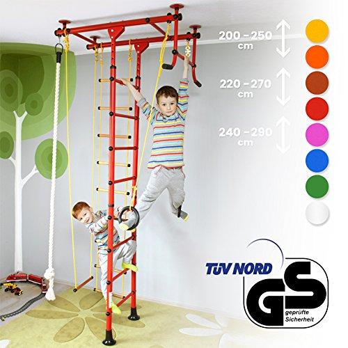 NiroSport FitTop Klettergerüst Indoor für Kinder in Rot/Metallsprossen/TÜV geprüfte Indoor Sprossenwand für Kinderzimmer/leicht montierbare Kletterwand/Turnwand für max. Belastung bis 130 kg