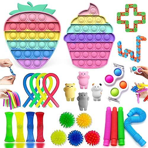 Fidget Toy, Simple Fidget Toy Anti Stress Spielzeug Set, Fidget Toy Set Box für Stress und Angst Abbauen, Anti Stress Spielzeug Set für Kinder Geburtstagsfeier, KlassenbelohnungenUnd Kinder...