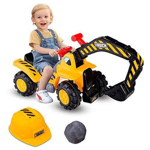 COSTWAY Sitzbagger mit eingebautem Ablagefach, Kinderbagger mit Horn, Bagger Spielzeug, Sandbagger, Rutscher Bagger, Schaufelbagger, Aufsitzbagger für Kinder ab 3 Jahren, inkl. Stein und Helm