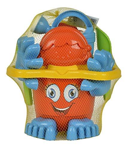 Simba 107113021 - Eimergarnitur mit Füßen, Sandspielzeug, Sandkasten, Wasserspielzeug, 11 Teile, Rechen, Gießer, Schaufel, 15cm, es wird nur ein Artikel geliefert