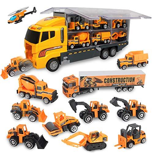 Jenilily 12 in 1 Baufahrzeug Autos Bagger Spielzeug Baustelle LKW Spielzeugautos Transporter Kinderspielzeug für Kinder