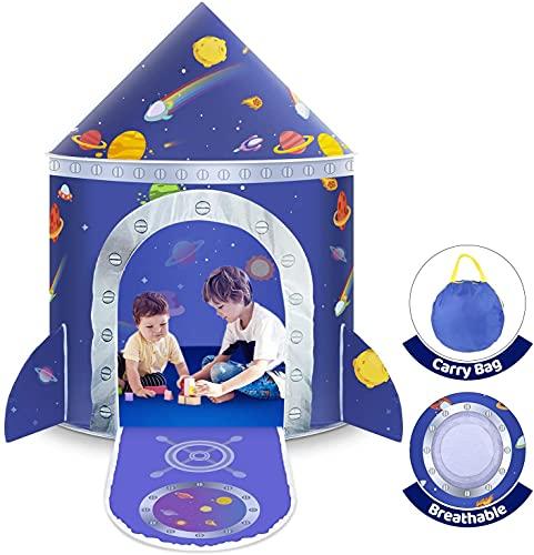 Spielzelt für Kinder, Platz Kinderzelt Spielhaus Prinzenschloss Zelt Castle Spielzelt für Jungs Kleinkinder Innen & Draussen mit Aufbewahrungstasche Geschenk für Weihnachten und Geburtstag