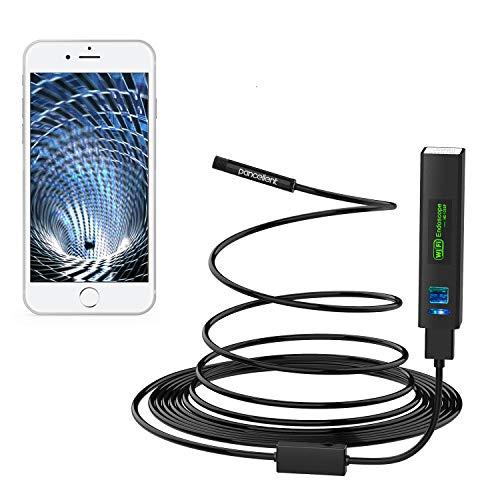 Pancellent Endoskopkamera WiFi, Inspektionskamera HD 1200P mit LED-Licht Endoskop Kamera5m für Android iPhone Tablet PC (16.5FT, enthalten)