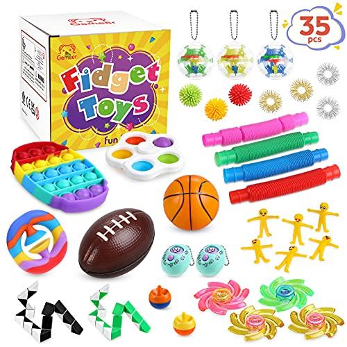 Gemeer Pop Fidget Toys Set - 35 Stück Anti Stress Spielzeug mit Sensory Zappeln, Anti Stress Spielzeug, Angst Relief Finger Toys für Kinder