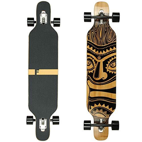 FunTomia Longboard Skateboard Drop Through Cruiser Komplettboard mit Mach1 High Speed Kugellager T-Tool mit und ohne LED Rollen - Flex 3 Bambus Ahorn