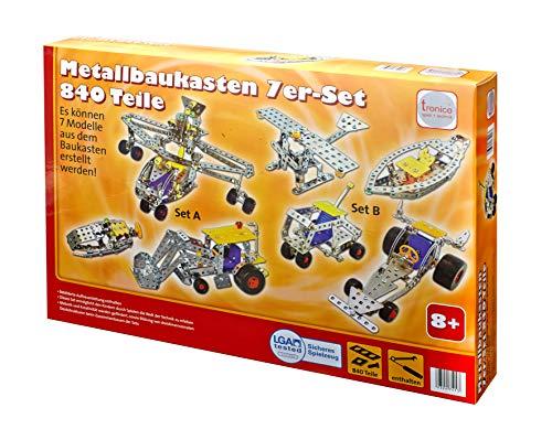 Tronico Metallbaukasten 7 Modelle 840 Teile Konstruktionsspielzeug Mint Modellbau Bauen mit Werkzeug Stabilbaukasten Metall