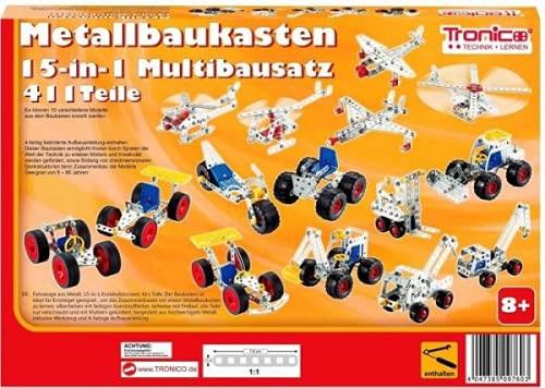 Tronico Metallbaukasten Bausatz 15-in-1 Modelle Baufahrzeuge 500 Teile Baustelle Flugzeug Fahrzeuge Auto LKW 4-farbige Aufbauanleitung Werkzeug ab 8 Jahren Starter Set Multibaukasten Multi-Model