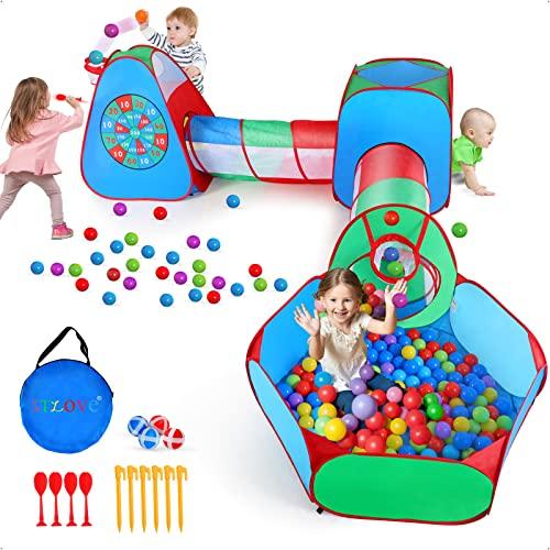 STLOVe Spielzelt Kinderzelt Babyzelt mit krabbeltunnel(Ohne Bälle) 5-Teiliges Spielhaus mit Zelt Tasche und Tunnel│Verdickter Stoff +Fettgedruckter Draht│8 Bälle+4 Dart+6 Bodennagel