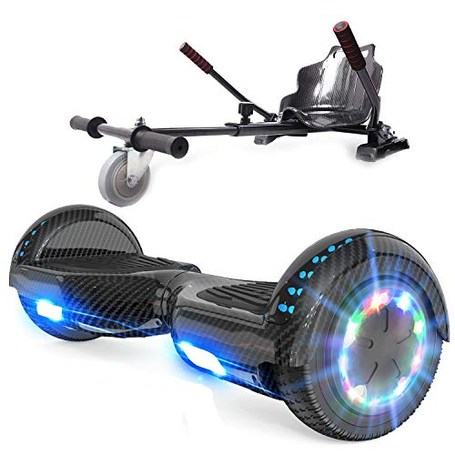 RCB Hoverboard mit Sitz und Hoverkart Set 6,5 Zoll Elektro Skateboard für Kinder Elektroroller mit Bluetooth Roller Bluetooth und LED-Lichtern Solider Sitz Spielzeug für Kinde