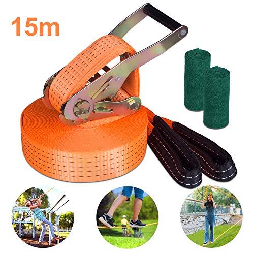 Yuanj Slackline Set, 15m Slackline Set für Kinder / Erwachsene / Anfänger, Slackline + Ratsche + Baumschutz + Transportbeutel, Perfekter Freizeitsport für Familie Outdoor-Spaß (Orange)