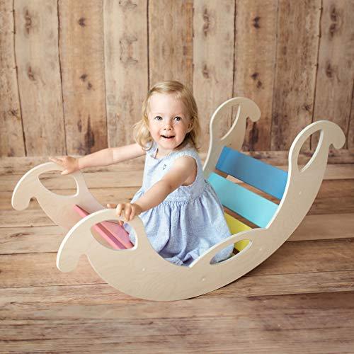 Nobsi Bunte Bogenwippe aus Holz - handgefertigter Kletterbogen, Kletter-Brücke für Babys und Kinder, nach Pikler und Montessori,, Jumbo*