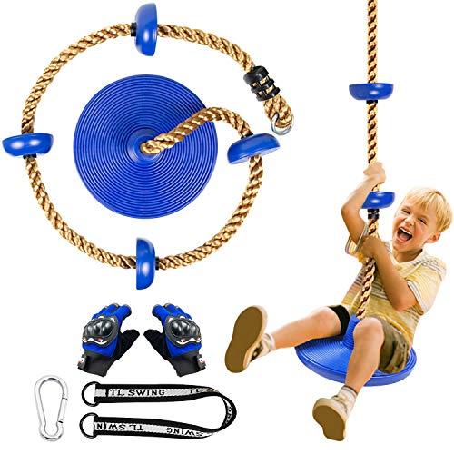 CHAIRLIN Baumklettern Schaukel mit Plattform Kinder draußen hängender Baum Scheibe Schaukel Kletterseil inkl. Handschuhe.