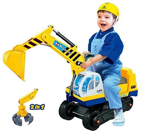 Dominiti e.K. Sitzbagger mit Zwei Schaufeln in gelb + Helm / Greifarm + Schaufel / Kinder-Fahrzeug / Rutscher / Bagger