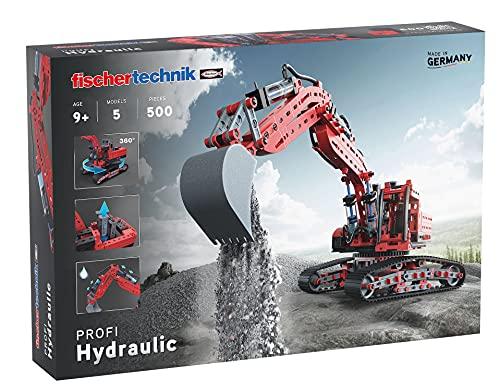 fischertechnik 548888 Hydraulik Spielzeug Bagger für Kinder mit realitätsnaher Hydraulik-Funktion und Baggerschaufel, 5 Modelle, Schauffelbagger, Pistenraupe & Versuchsmodelle,...