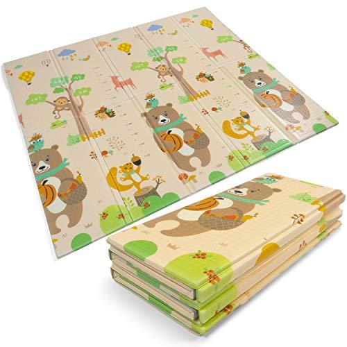 Baby Duno Spielmatte Baby 200x180x1,5cm Wärmeisolierend - Krabbelmatte Baby faltbar - Spielmatte Baby Schadstofffrei - geruchslos - umweltfreundlich - BPA frei & sicher für Ihr Kind (Tierpark)