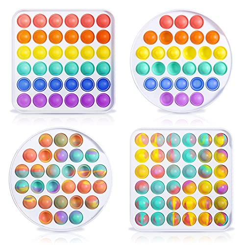 QTTO Fidget Toy, Fidget Toy Set, 4er Set Push Pop Bubble Fidget Toys, Sensorisches Spielzeug Autismus lindert Angstzustände, Antistress Spielzeug für Kinder Erwachsene(Kreis und Viereck, Regenbogen)