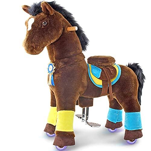 PonyCycle Official Prämie K-Serie Ritt auf Pferd Spielzeug Plüsch Lauftier dunkelbraunes Pferd für Alter 4-9 Mittlere Größe K45