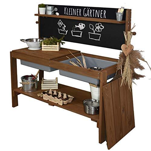Meppi Matschküche Kleiner Gärtner, braun aus Holz, Outdoor-Küche