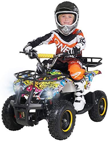 Actionbikes Motors Kinder Elektro Miniquad ATV Torino 1000 Watt 36 Volt - Scheibenbremsen - Umweltfreundlicher Elektromotor (1000 Watt Gelb Graffiti)