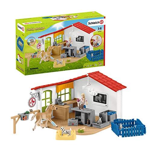 Schleich 42502 Farm World Spielset - Tierarzt-Praxis mit Haustieren, Spielzeug ab 3 Jahren,11 x 39 x 23 cm