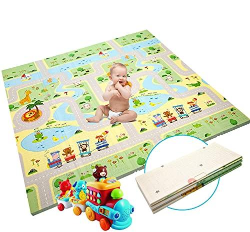 Baby Spielmatte Extra große Babyspielmatte faltbare reversible ungiftige Schaum Crawl Playmat wasserdichte Kinder Baby Kleinkind im Freien oder im Innenbereich(180 x 200 x 1,5cm)