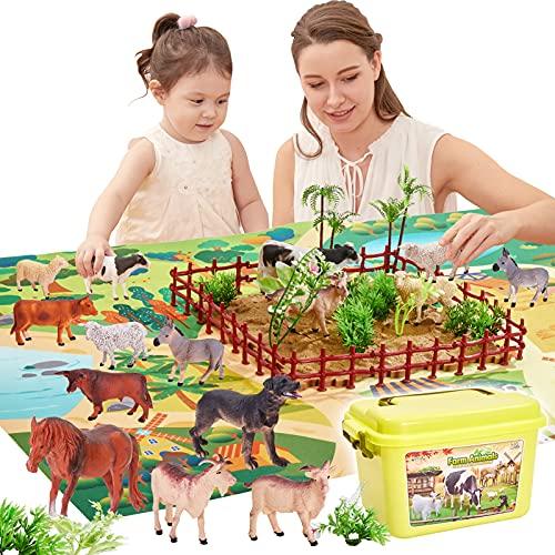 BUYGER 58 Stück Tiere Bauernhof Spielzeug, 12 Tierfiguren Set mit Spielmatte, Bauernhof Tiere Tierespielzeug Spielset für Kinder ab 3+ Jahre