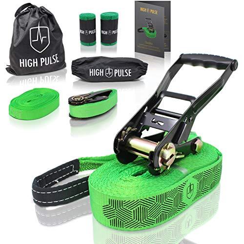 High Pulse® Slackline Set   15 m – Komplettes Slackline-Set (12,5 m Band + 2,5 m Ratschenband) mit Ratsche, Ratschenschutz, Hilfsline, Balancierhilfe, Baumschutz und Transportbeutel