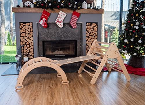 Wood And Hearts Dreieck für Kinder Kleinkinder Rock mit Rampe – Montessori Kletterleiter Rutsche – Lernen Waldorf Kletterbogen für Kleinkind Naturholz (das Großformat)